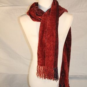 Soft scarf with maroon, orange and black